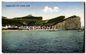 Old Postcard Perce and Its Cliffs What