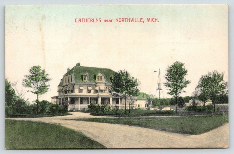 Northville Michigan~Kate D Eatherly 3 Story Farm House~Windmill~Dr For Pa~1912