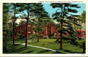 Pennsylvania Meadville Library and Campus Allegheny College Curteich