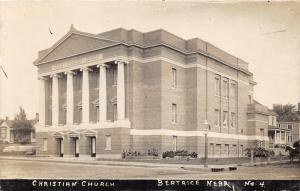 Beatrice Nebraska~Christian Church~Gigantic Greek Columns @ Front~c1910 RPPC