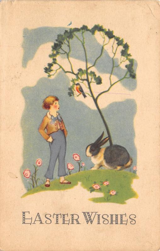 Easter~ART DECO~Exaggerated B&W Bunny Rabbit Under Tree~Boy Talks To Bird~801 C