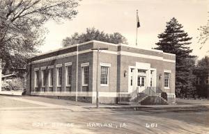 Harlan Iowa~Post Office~Flag on Roof~Houses Next Door~1940s RPPC Postcard