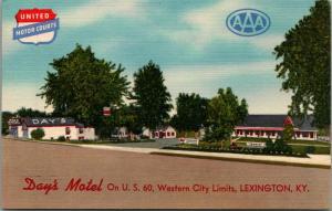 Lexington Kentucky~JB Day's Motel~Roadside Tourist Court~1940s Linen Postcard