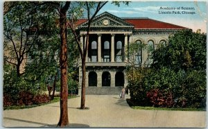 Chicago, Illinois Postcard Academy of Science, Lincoln Park 1915 Cancel