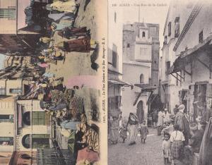 Alger Rue Morengo De La Casbah 2x Old Street Market Postcard s