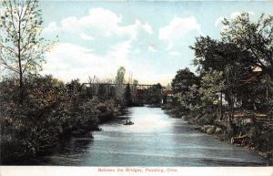 Paulding Ohio~Between the Bridges~Boat on River~Bridge in Distance~1907 Postcard