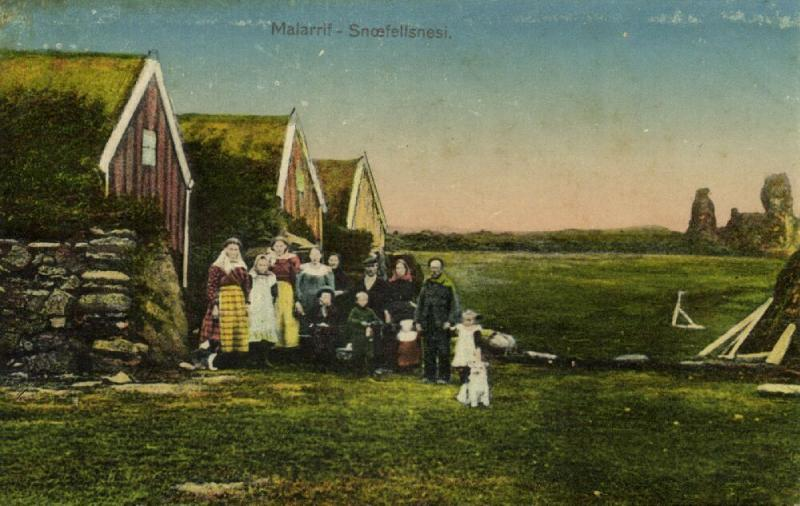 iceland, MALARRIF, Snæfellsnesi, Houses with People (1910s)