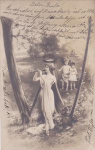 RP: Fantasy Alphabet Postcard , 1904 ; Letter  W  ; NPG