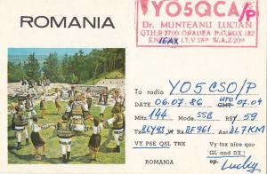 Romania Radio Amateur Station QSL card Oradea folk types dancers