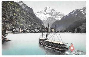 Switzerland Fluelen Bristenstock Boat Steamer Lake Lucerne