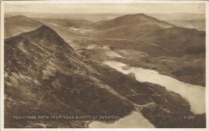 Postcard Vintage Pen-Y-Pass Path from Near Summit Of SNOWDON Wales by Valentines