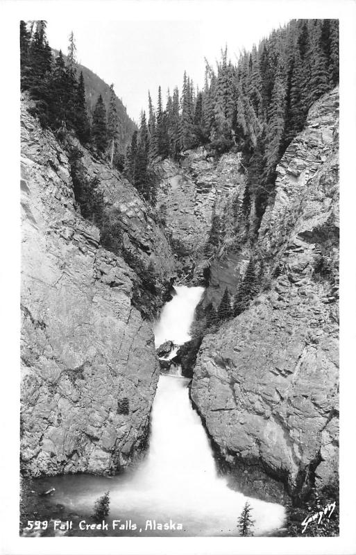 Alaska~Fall Creek Falls~Trees on Rock Cliff~1940s RPPC-Postcard