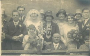 Social history early photo postcard wedding bride