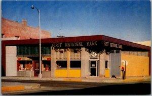 Salida, Colorado Postcard FIRST NATIONAL BANK Building / Street View c1950s