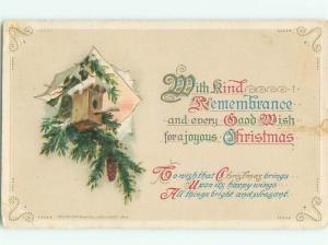 Pre-Linen Christmas BIRDHOUSE FOR BIRDS IN PINE TREE AB5958