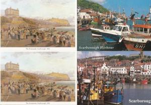 Scarborough Fishing Boats on Beach incl Victorian Painter 4x Postcard s