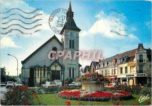 Modern Postcard The Opal coast Beach Berck (Pas-de-Calais) The church Notre-D...