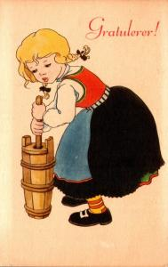 Norway Gratulever Young Girl Churning Butter