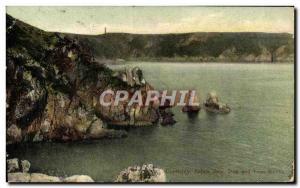 Postcard Old Guernsey Saitns Bog Bay and lion rocks