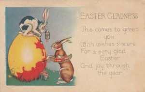EASTER Gladness, PU-1928; Rabbits painting yellow egg red