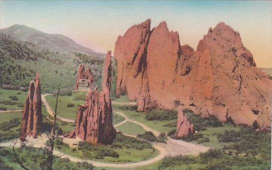 Colorado Colorado Springs Cathedral Spires Garden Of The Gods Albertype