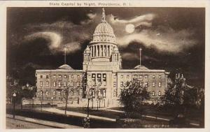 Rhode Island Providence State Capitol by Night Real Photo