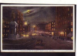 P1661 1915 used postcard night view large moon congress st. portland maine
