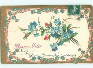 Very Old Foreign Postcard BEAUTIFUL FLOWERS SCENE AA4364