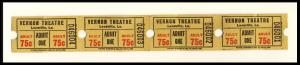 4 Vernon Movie Theatre .75-Cent Tickets, Leesville, Louisiana/LA, 1960's?