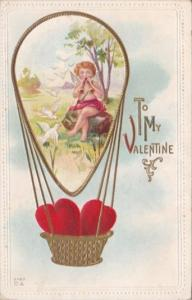 Valentine's Day Red Heart In Hot Air Balloon