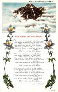 Colorado Mount Holy Cross With Poem Out Where The West Begins By Arthur Chapm...