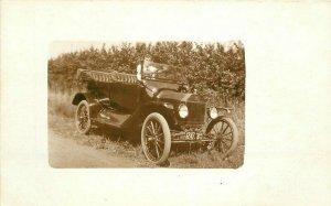Automobile Fruit Orchard Iowa Woman C-1910 RPPC Photo Postcard 20-1128