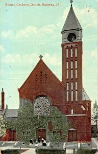 RAHWAY NEW JERSEY~ROMAN CATHOLIC CHURCH  (NOW DIVINE MERCY) 1909 PMK POSTCARD