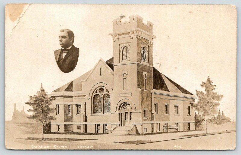 Latham Illinois~Christian Church Artist Conception~Pastor Photo Inset~c1912 RPPC