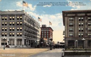 Great Falls MT Ford Bldg~1st National Bank~Hotel Rainbow~1st Ave & 3rd St c1910