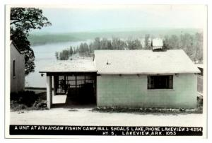 Arkansaw Fishin' Camp, Bull Shoals, Lakeview, AR Hand-Colored RPPC Postcard *4V