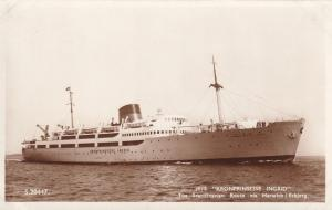 MS Kronprinsesse Ingrid Ship At Harwich Harbour Real Photo Old Postcard