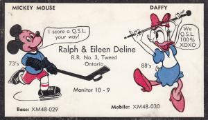 TWEED , Ontario , 1950s ; Ice Hockey Mickey Mouse & Daffy Disney QSL Card