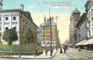 Portland Oregon~Morrison Street~Post Office~Hotel Portland~Trolley~1910 Postcard