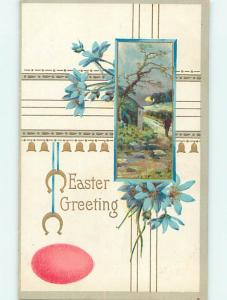 Divided-Back Easter COLORED EGG & BLUE FLOWERS & HORSESHOES o5910