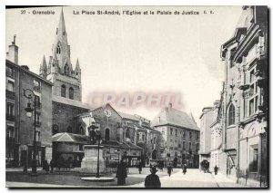 Old Postcard Grenoble Place St Andre church and courthouse