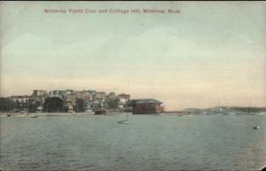 Winthrop MA Yacht Club & Cottage Hill c1910 Postcard
