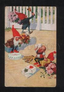 071018 Funny GNOME w/ Gifts Vintage COLORFUL card