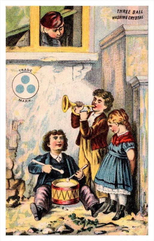 13484  Trade card  NY Three ball Washing Crystal,   Children Playing Horn, Drums