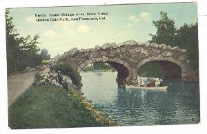 Rustic Stone Bridge Over Stow Lake, Golden Gate Park, San Francisco, Californ...