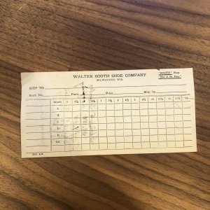 Milwaukee Wisconsin - WALTER BOOTH SHOE COMPANY - INVOICE - RECEIPT - PAPER