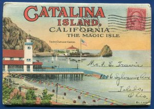 Catalina Island California Magic Isle Avalon bay Yacht Club postcard folder