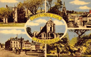Greetings from Jedburgh Queen mary Maricet Place Abbey Postcard
