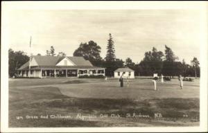 St. Andrews NB Algonquin Golf Course 18th Green & Club Real Photo Postcard myn