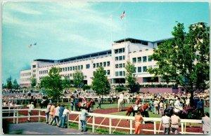 Oceanport, NJ Postcard MONMOUTH PARK Race Track Horse Racing Chrome 1956 Cancel